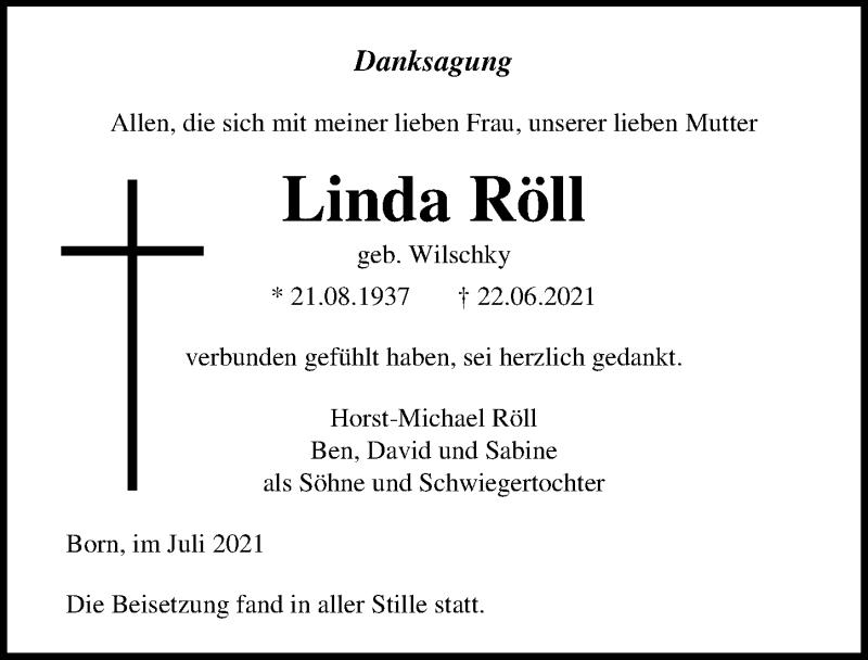 Traueranzeige für Linda Röll vom 17.07.2021 aus Ostsee-Zeitung GmbH