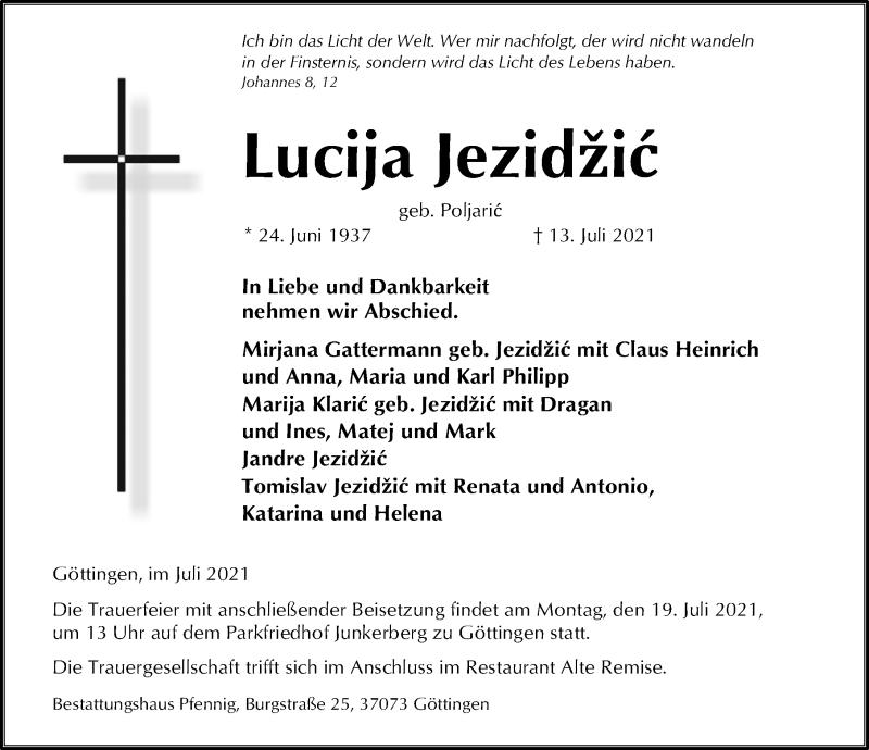 Traueranzeige für Lucija Jezidzic vom 17.07.2021 aus Göttinger Tageblatt
