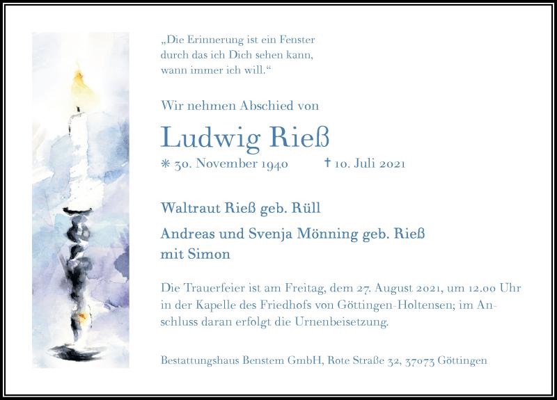 Traueranzeige für Ludwig Rieß vom 17.07.2021 aus Göttinger Tageblatt