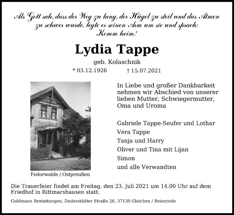 Traueranzeige für Lydia Tappe vom 17.07.2021 aus Göttinger Tageblatt