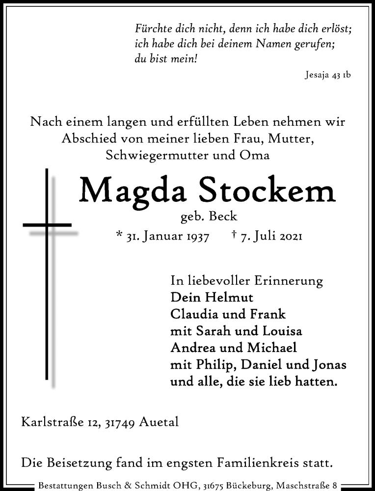 Traueranzeige für Magda Stockem vom 17.07.2021 aus Schaumburger Nachrichten