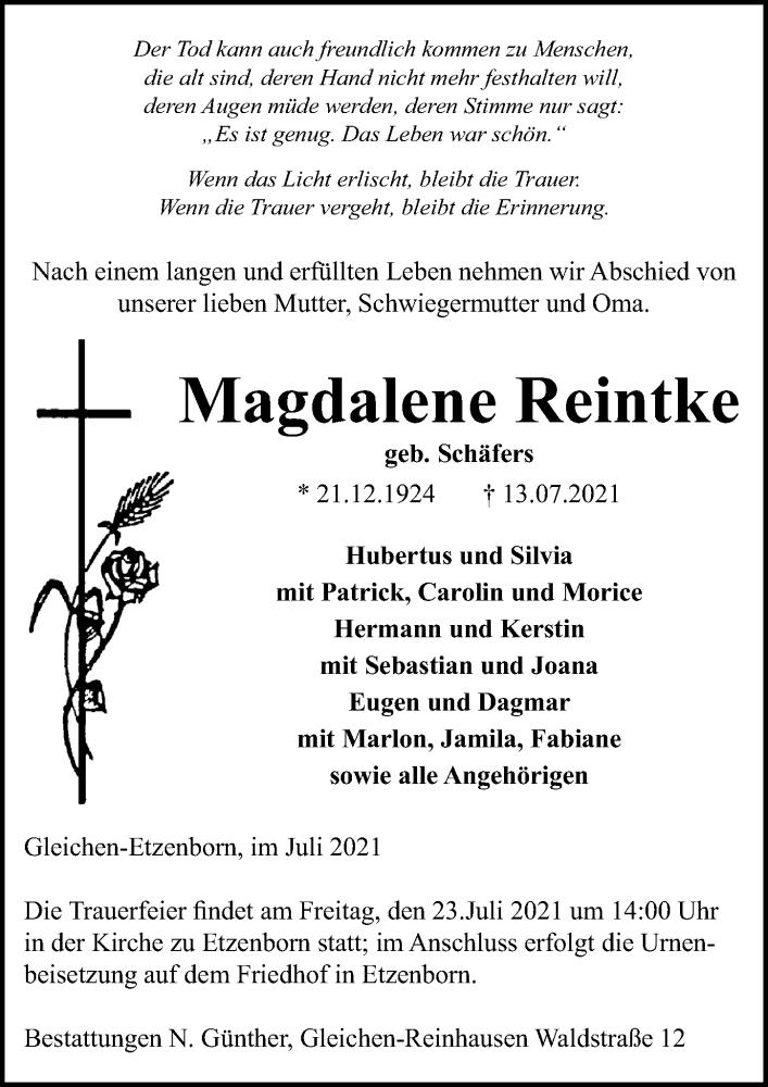 Traueranzeige für Magdalene Reintke vom 17.07.2021 aus Göttinger Tageblatt