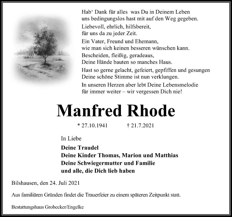 Traueranzeige für Manfred Rhode vom 24.07.2021 aus Eichsfelder Tageblatt