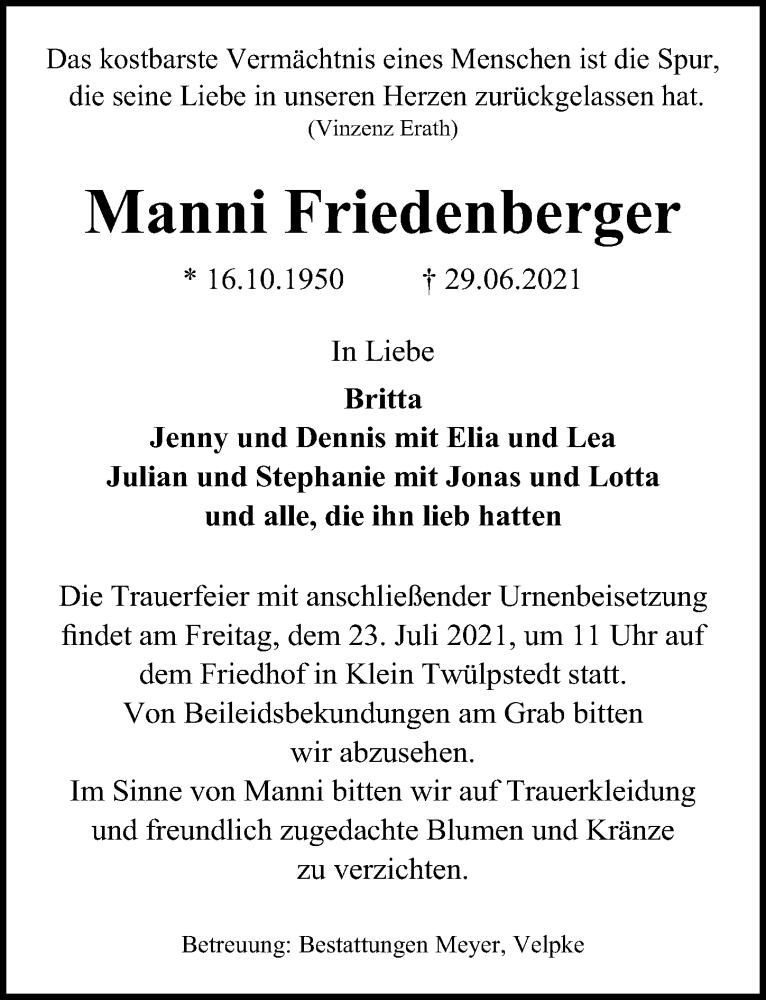 Traueranzeige für Manni Friedenberger vom 16.07.2021 aus Aller Zeitung