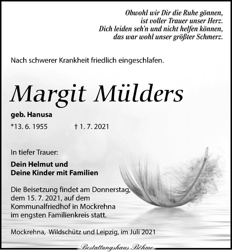 Traueranzeige für Margit Mülders vom 10.07.2021 aus Torgauer Zeitung