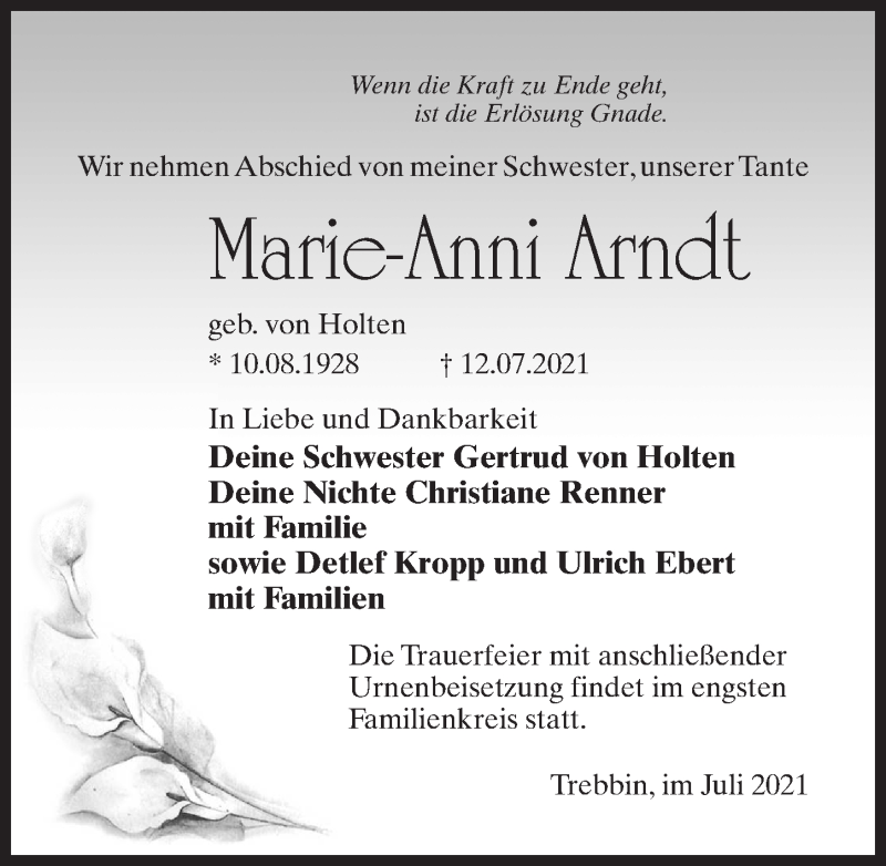 Traueranzeige für Marie-Anni Arndt vom 21.07.2021 aus Märkischen Allgemeine Zeitung