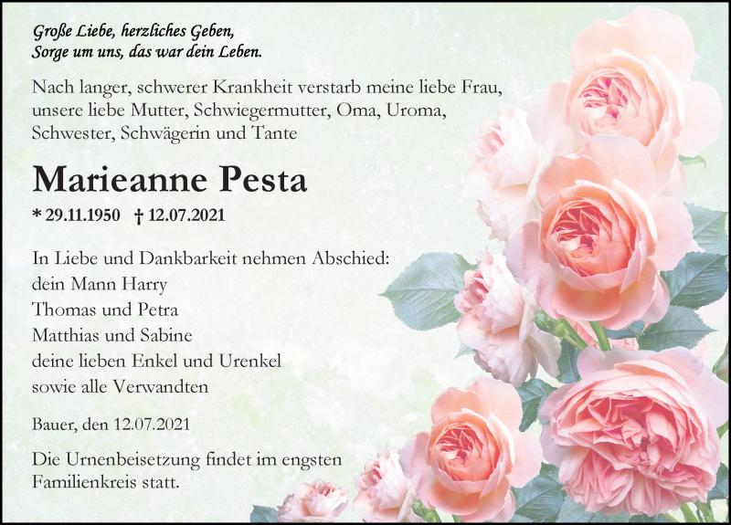 Traueranzeige für Marieanne Pesta vom 17.07.2021 aus Ostsee-Zeitung GmbH