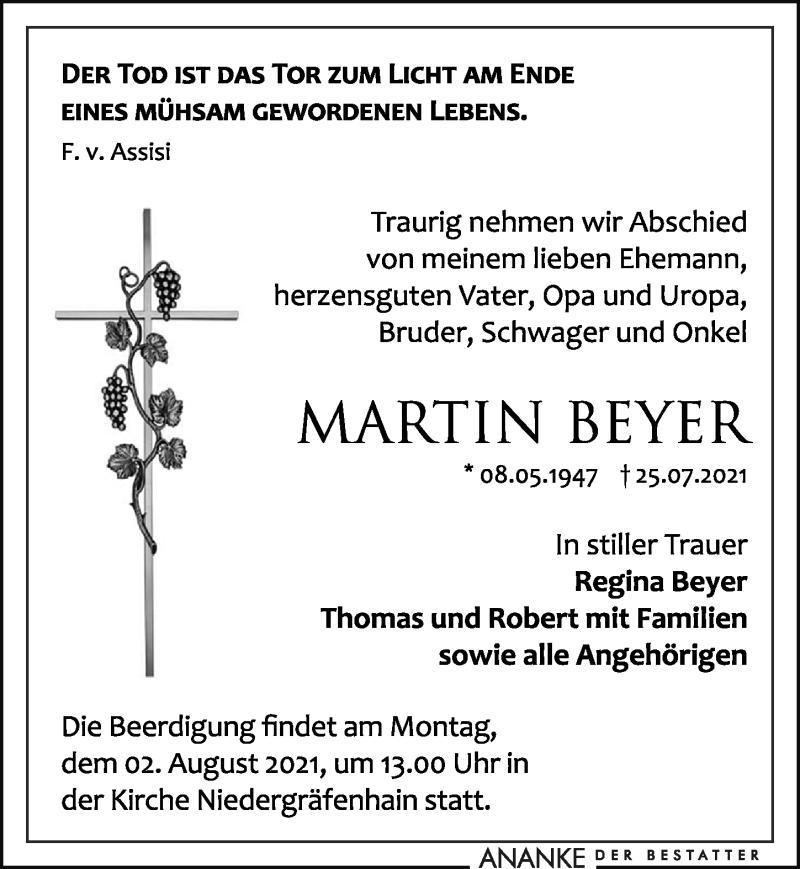 Traueranzeige für Martin Beyer vom 28.07.2021 aus Leipziger Volkszeitung