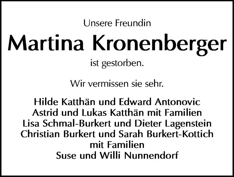 Traueranzeige für Martina Kronenberger vom 17.07.2021 aus Göttinger Tageblatt