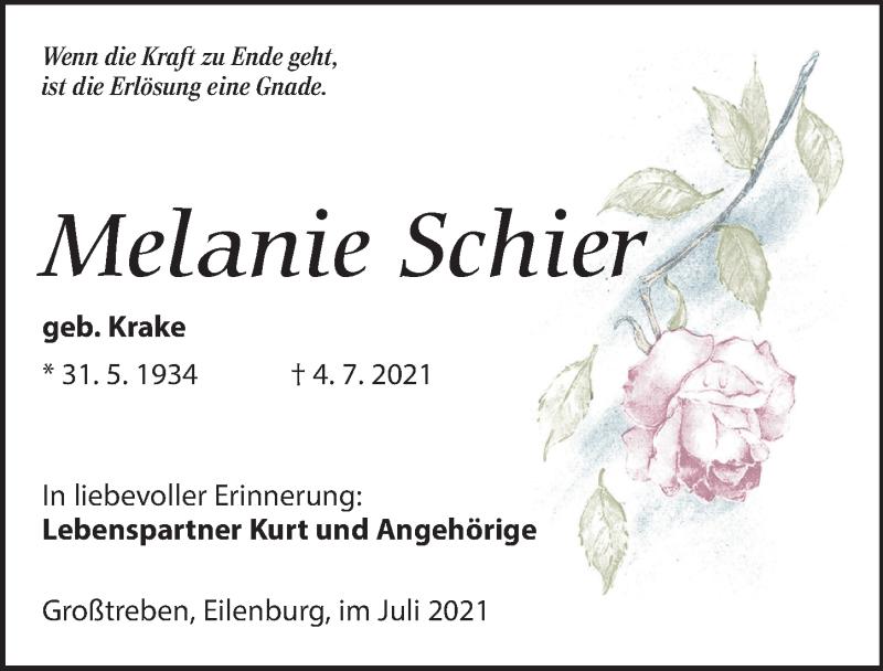 Traueranzeige für Melanie Schier vom 17.07.2021 aus Leipziger Volkszeitung
