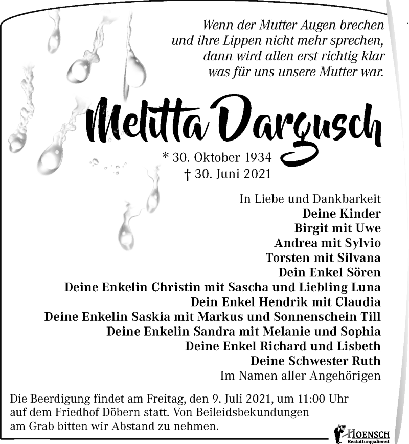 Traueranzeige für Melitta Dargusch vom 07.07.2021 aus Torgauer Zeitung