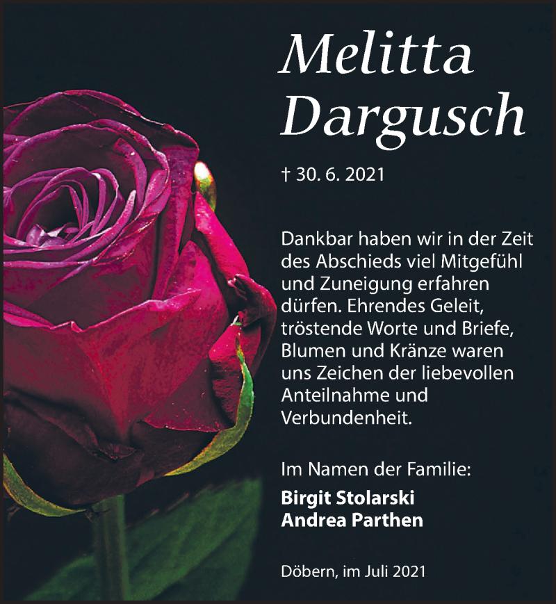 Traueranzeige für Melitta Dargusch vom 31.07.2021 aus Torgauer Zeitung
