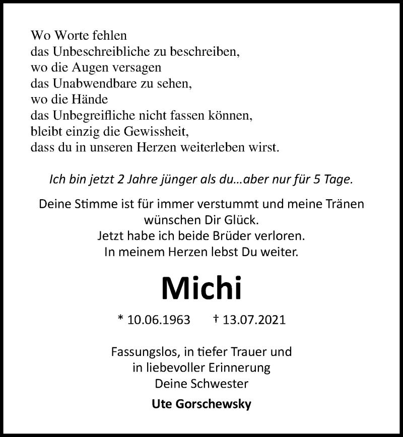 Traueranzeige für Michi  vom 18.07.2021 aus Lübecker Nachrichten