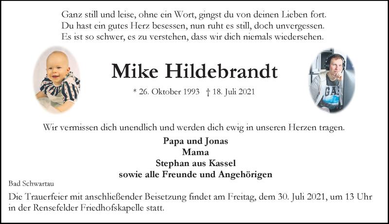 Traueranzeige von  Mike Hildebrandt