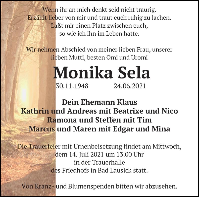 Traueranzeige für Monika Sela vom 10.07.2021 aus Leipziger Volkszeitung