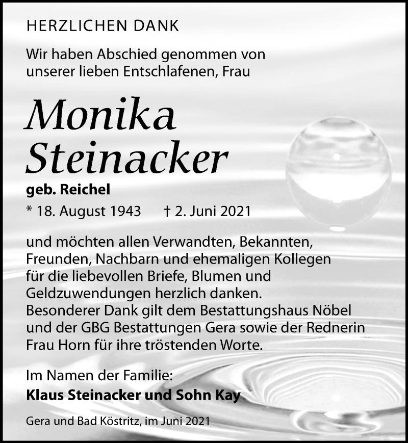 Traueranzeige für Monika Steinacker vom 03.07.2021 aus Leipziger Volkszeitung