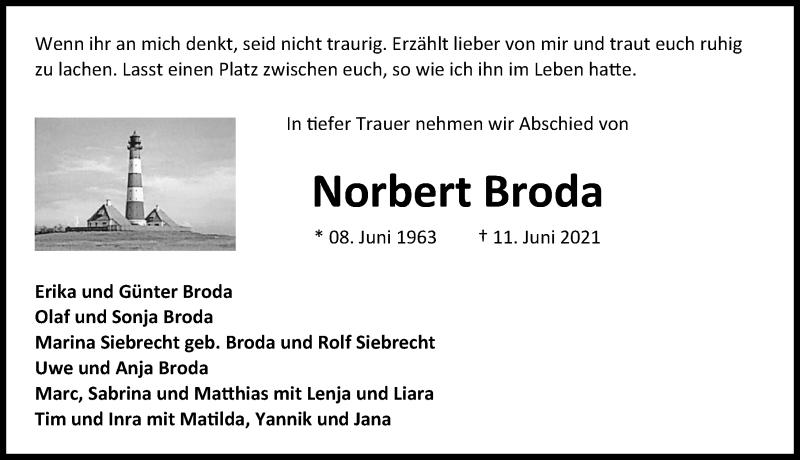 Traueranzeige für Norbert Broda vom 16.07.2021 aus Aller Zeitung