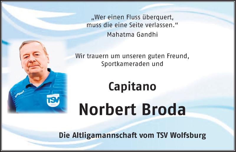 Traueranzeige für Norbert Broda vom 17.07.2021 aus Aller Zeitung