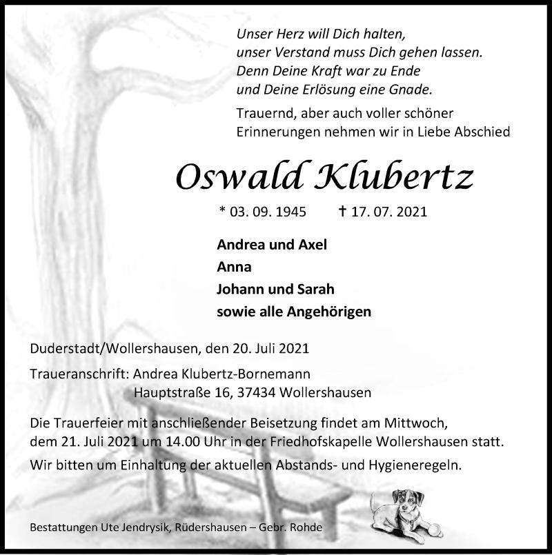 Traueranzeige für Oswald Klubertz vom 20.07.2021 aus Eichsfelder Tageblatt