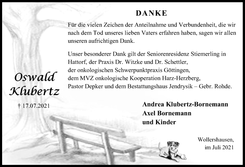 Traueranzeige für Oswald Klubertz vom 31.07.2021 aus Eichsfelder Tageblatt