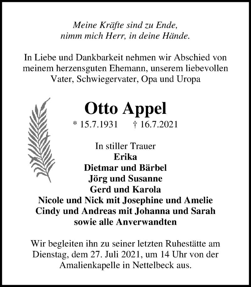 Traueranzeige für Otto Appel vom 21.07.2021 aus Märkischen Allgemeine Zeitung
