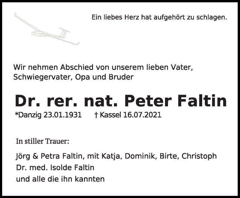 Traueranzeige für Peter Faltin vom 20.07.2021 aus Kieler Nachrichten