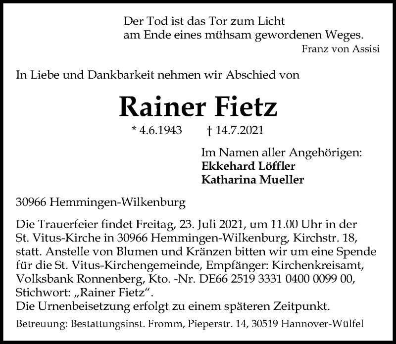 Traueranzeige für Rainer Fietz vom 17.07.2021 aus Hannoversche Allgemeine Zeitung/Neue Presse