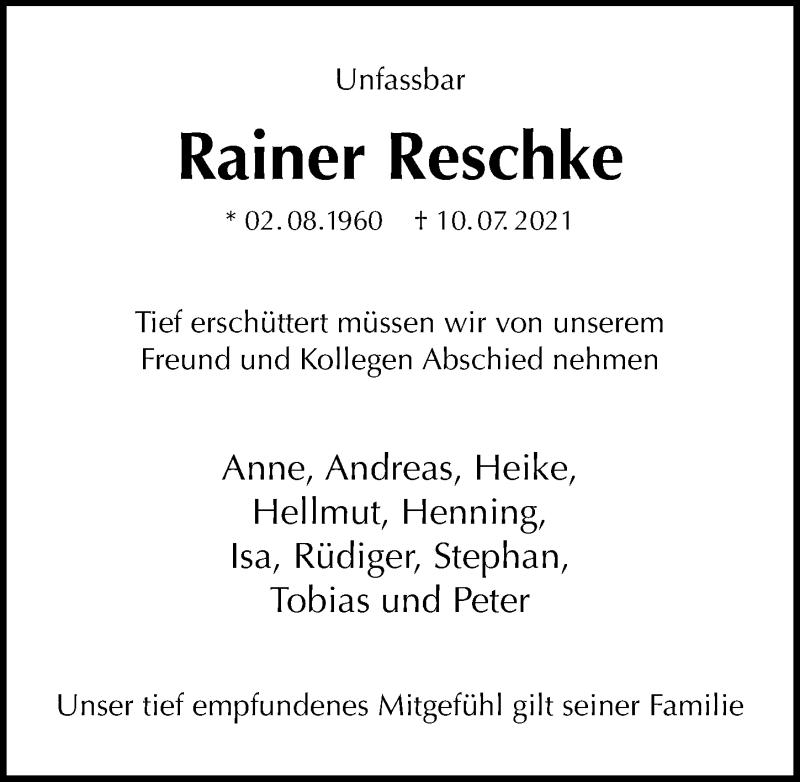 Traueranzeige für Rainer Reschke vom 17.07.2021 aus Göttinger Tageblatt