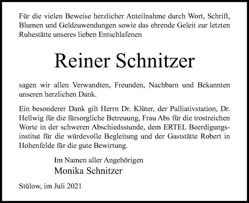 Traueranzeige für Reiner Schnitzer vom 31.07.2021 aus Ostsee-Zeitung GmbH