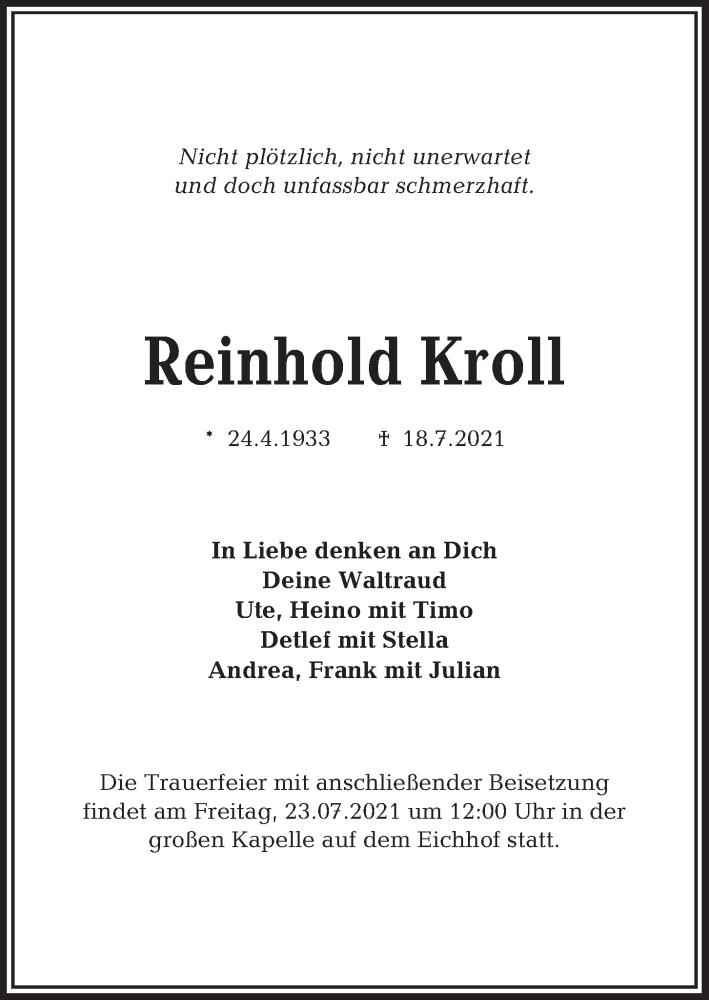 Traueranzeige für Reinhold Kroll vom 21.07.2021 aus Kieler Nachrichten