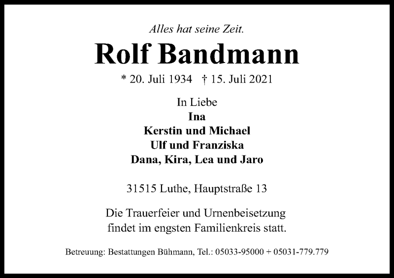 Traueranzeige für Rolf Bandmann vom 17.07.2021 aus Hannoversche Allgemeine Zeitung/Neue Presse