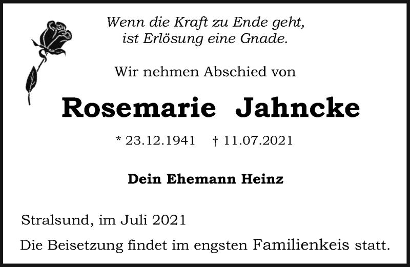 Traueranzeige für Rosemarie Jahncke vom 17.07.2021 aus Ostsee-Zeitung GmbH