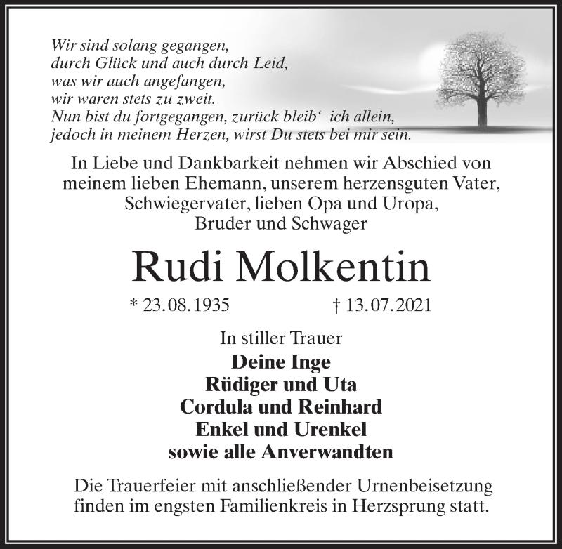 Traueranzeige für Rudi Molkentin vom 17.07.2021 aus Märkischen Allgemeine Zeitung