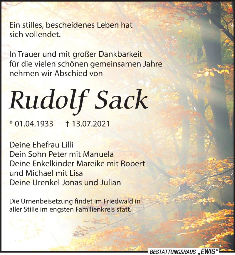 Traueranzeige für Rudolf Sack vom 17.07.2021 aus Leipziger Volkszeitung