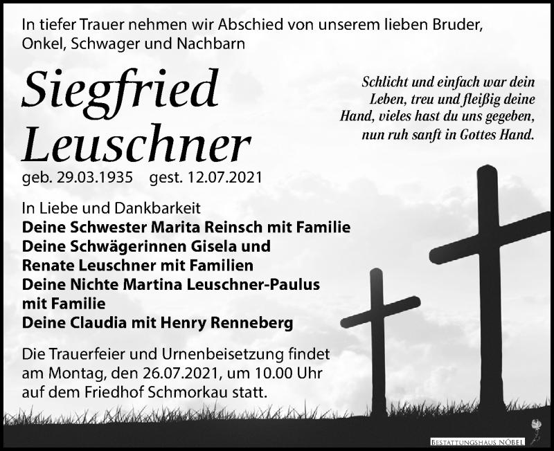 Traueranzeige für Siegfried Leuschner vom 17.07.2021 aus Leipziger Volkszeitung
