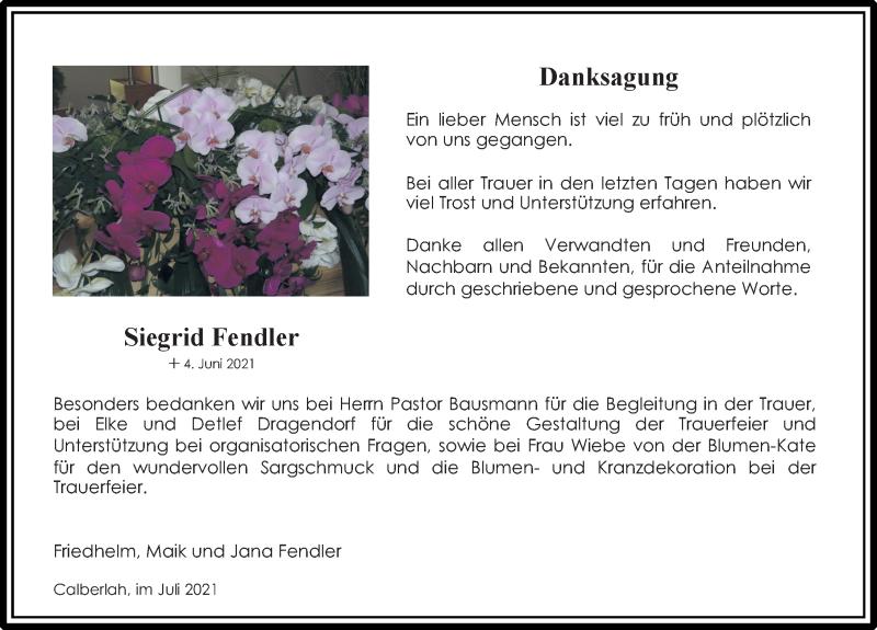 Traueranzeige für Siegrid Fendler vom 21.07.2021 aus Aller Zeitung