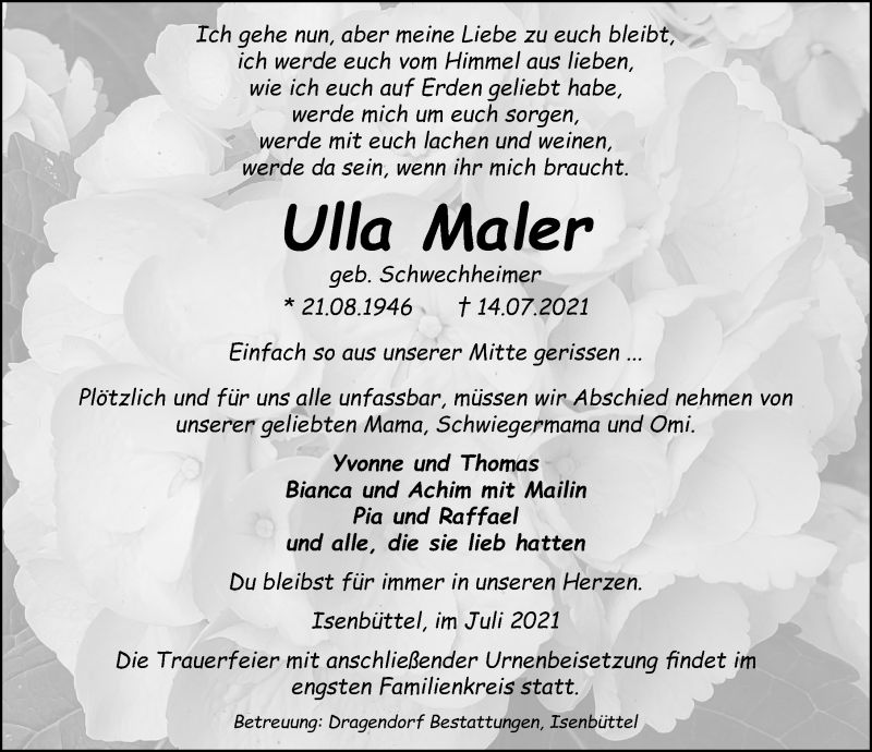 Traueranzeige für Ulla Maler vom 24.07.2021 aus Aller Zeitung