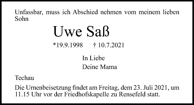 Traueranzeige für Uwe Saß vom 18.07.2021 aus Lübecker Nachrichten