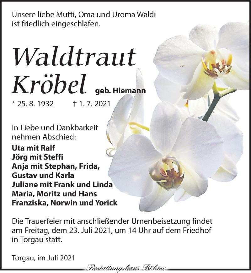 Traueranzeige für Waldtraut Kröbel vom 10.07.2021 aus Torgauer Zeitung