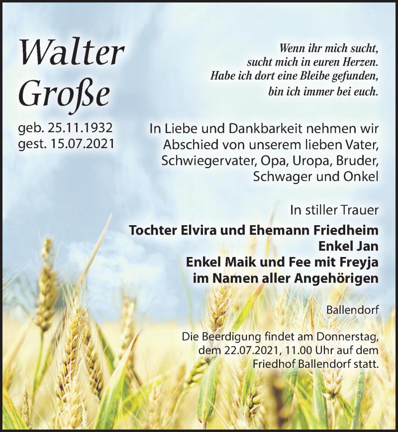 Traueranzeige für Walter Große vom 20.07.2021 aus Leipziger Volkszeitung