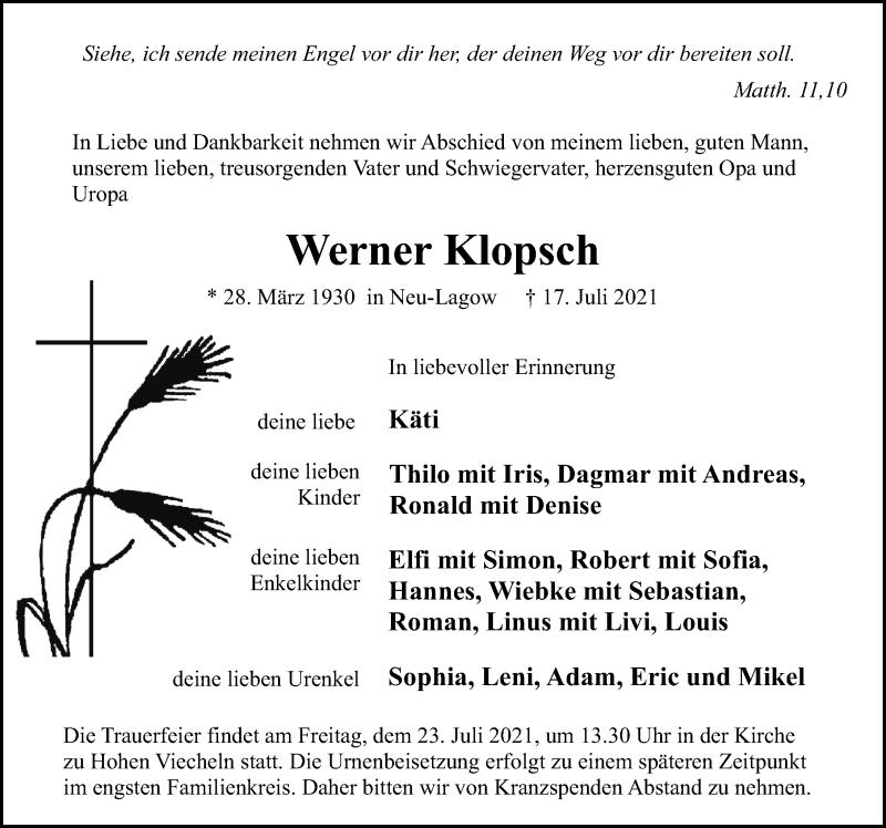 Traueranzeige für Werner Klopsch vom 21.07.2021 aus Ostsee-Zeitung GmbH