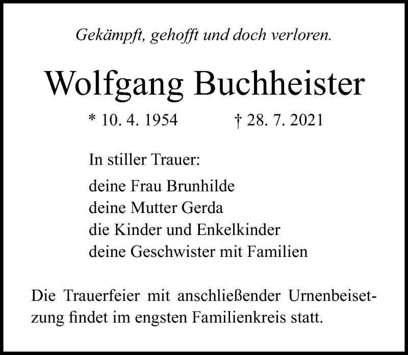 Traueranzeige für Wolfgang Buchheister vom 31.07.2021 aus Ostsee-Zeitung GmbH