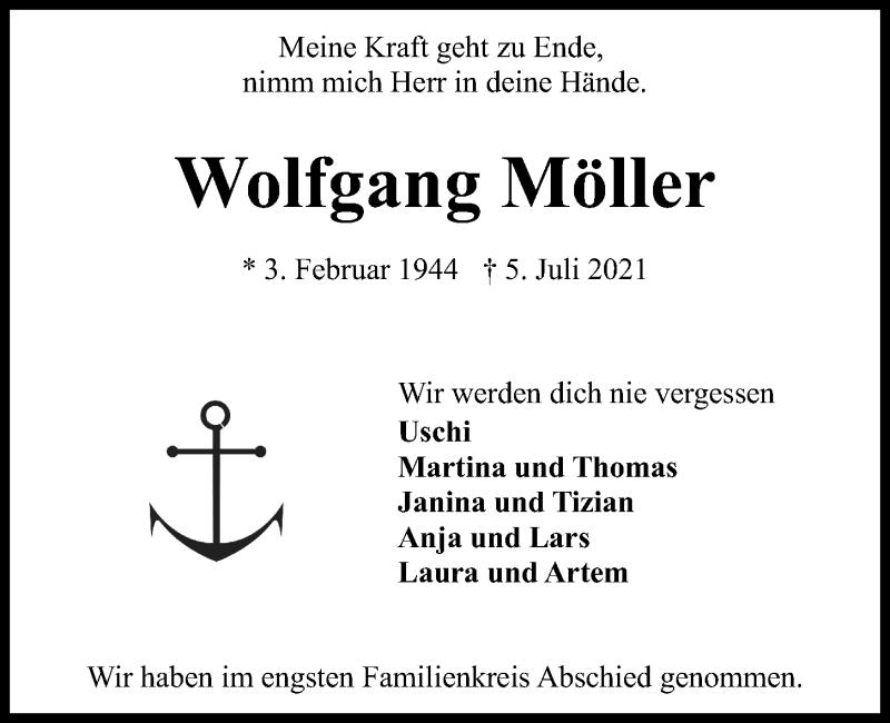 Traueranzeige für Wolfgang Möller vom 17.07.2021 aus Kieler Nachrichten