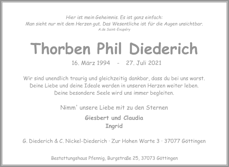 Traueranzeige für Thorben Phil Diederich vom 14.08.2021 aus Göttinger Tageblatt