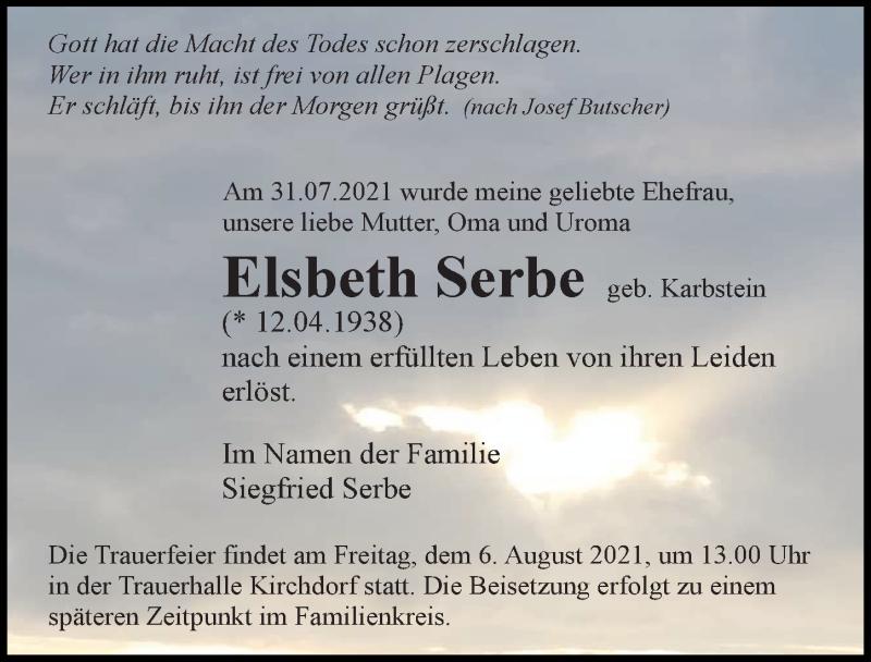 Traueranzeige für Elsbeth Serbe vom 04.08.2021 aus Ostsee-Zeitung GmbH