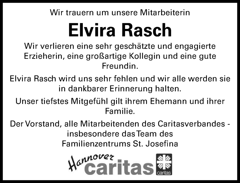 Traueranzeige für Elvira Rasch vom 28.08.2021 aus Hannoversche Allgemeine Zeitung/Neue Presse
