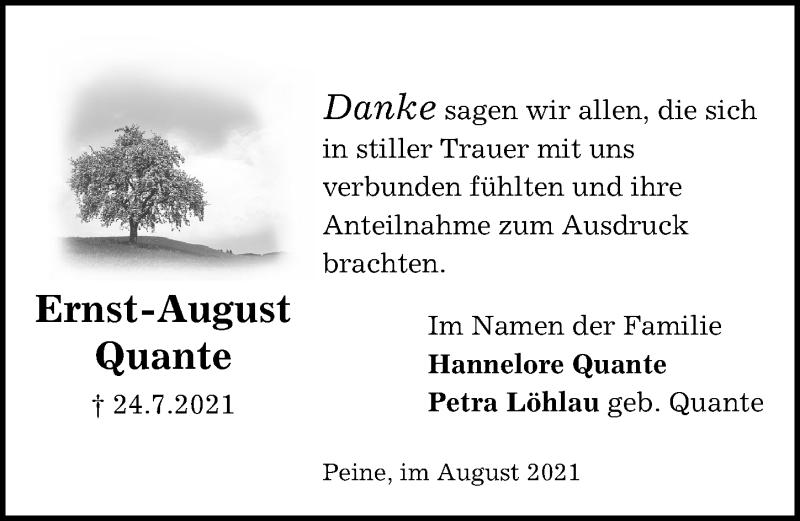 Traueranzeige für Ernst-August Quante vom 19.08.2021 aus Peiner Allgemeine Zeitung
