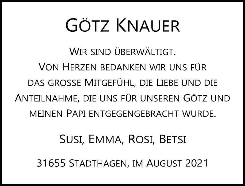Traueranzeige für Götz Knauer vom 14.08.2021 aus Schaumburger Nachrichten
