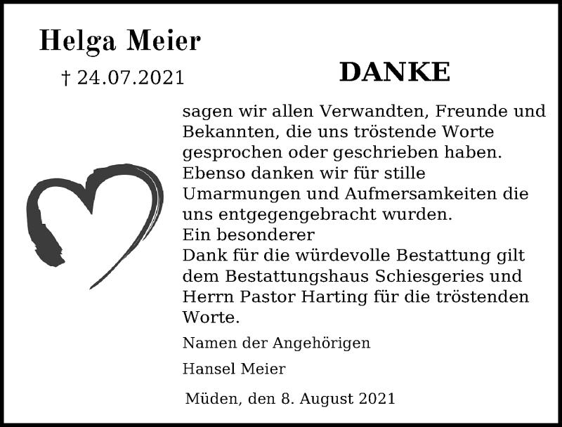 Traueranzeige für Helga Meier vom 11.08.2021 aus Aller Zeitung