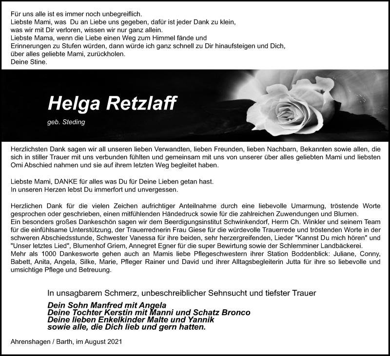 Traueranzeige für Helga Retzlaff vom 14.08.2021 aus Ostsee-Zeitung GmbH